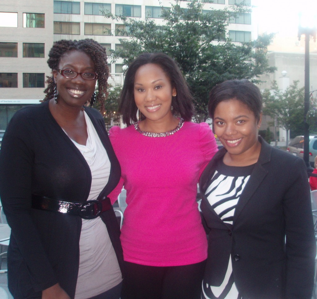 (R-L) Jonelle Henry, President Alliance for Women in Media (NCAC); Emily Brown; Adrianne Sheares, founder of I Heart Social Media DC